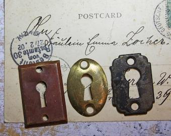 Vintage Hardware KEYHOLES- Antique Escutcheon Plate- Salvage Yard Architectural Salvage- Door Plate Hardware- C18
