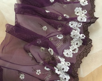 11 yards Delicate lace trim in purple with dots for costumes design