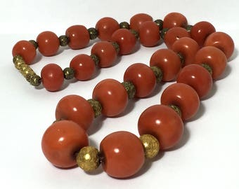 Reserved Sn. Large natural coral bead coral necklace