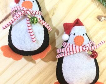Christmas Penguin Ornament - Handsewn Ornament - Penguin Ornament - Christmas Ornament - Felt Ornament - Stocking Stuffer - Stuffed Doll