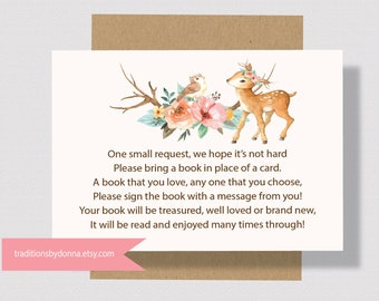 BOOK REQUEST CARD  Deer Baby Shower Printable For Girl Baby Shower   Bring A Book Instead Of A Card Woodland Baby Shower Books for Baby 0260
