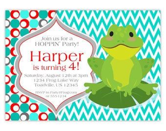 Frog Invitation - Turquoise, Gray, Red Chevron and Polka Dots, Green Toad Frog Personalized Birthday Party Invite - Digital Printable File
