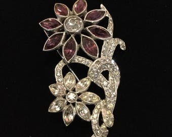 PURPLE FLORAL BROOCH Unsigned