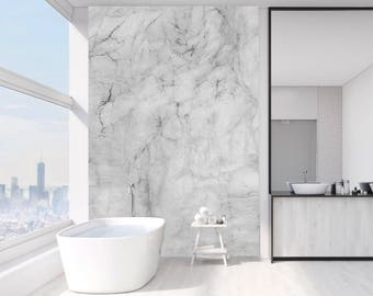 Striking Grey and White Marble Wallpaper. Interior design for Home and Office #MARTHA