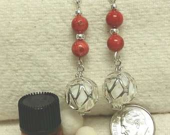 Red coral aromatherapy earrings.