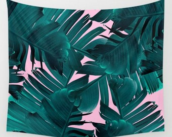 Green Tapestry, Banana Leaf Tapestry, Tropical Wall Hanging, Tropical Tapestry, Pink Tapestry, Tropic Plant Tapestry, Tropical Glam Tapestry