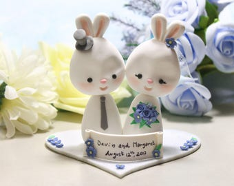 Wedding cake toppers Bunnies + base - bride groom figurine rabbit cornflower blue personalized elegant rustic country white farm animal