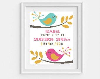 Birth announcement cross stitch Baby cross stitch pattern chart Modern cross stitch PDF Cute Birds Birth sampler Baby shower Nursery decor