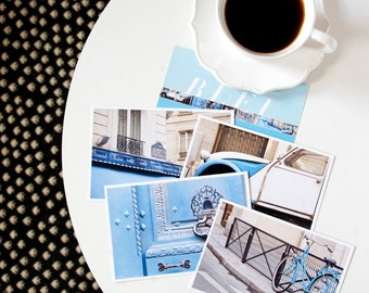 Paris Postcard Set, Blue Travel Postcards 4x6 Art Print, Affordable Art, Paris Print Set, College Student Gift for Her Stocking Stuffer