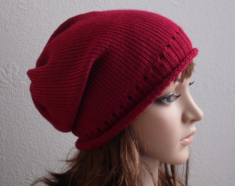 Red hat, womens knitted hat, knit slouch hat, handmade slouchy beanie hat, women knit slouch beanie hat, CHOOSE COLOURS