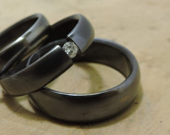 Titanium Rings, Wedding Rings, Moissanite Ring, Engagement Ring, Tension Set Ring, His and Hers Rings, Wedding Ring Set, Custom Made Ring