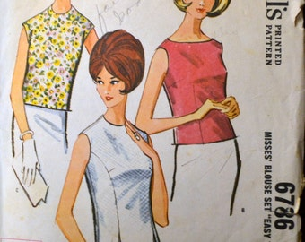 Vintage 1963 Blouses' Sewing Pattern McCall's 6786 Misses' Blouses Bust 31  inches Complete