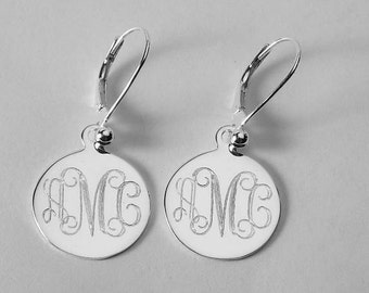Monogram Earrings Custom Engraved Personalized Sterling Silver 11/16 Inch Round Monogram Earrings - Hand Engraved