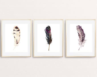 Feathers Print, Printable art, Set of 3 prints, Feather print, Bohemian decor, Watercolor feather wall art decor, Feather poster home decor