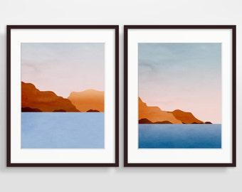 Large Wall Art Set, Modern Art Prints, Beach Decor, Abstract Seascape, Modern Abstract Art, Ocean Art