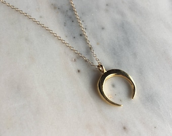 Luna moon necklace, gold filled half moon necklace, pretty modern jewelry