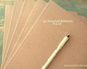 """5 Kraft Brown Notebooks, 8""""x10"""" (203x254mm) kraft notebooks, lined, blank, graph, or dot-grid journals, eco-friendly 100% recycled, thin"""