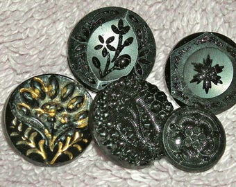 Antique Buttons, Victorian Black Glass, Lot of 5, Mourning Buttons, Shank, Self Shank, 12 mm, Antique Supply, Collectible, Circa Mid 1800s