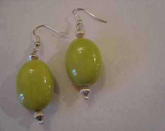 Green Tube earrings