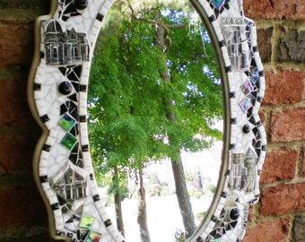 Black and White Stained Glass and Plate Tile Mirror
