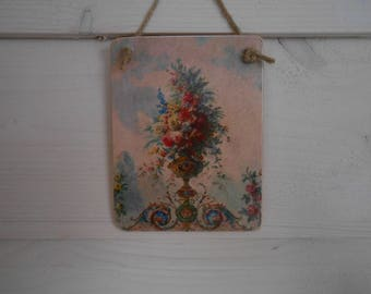 hanging wooden sign romantic floral display regency garden ornate shabby chic french decor Versailles gardens handmade gift for her