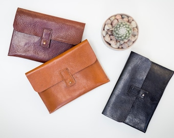 Small Leather Pouch. Leather Makeup bag. Leather Cosmetic Bag.