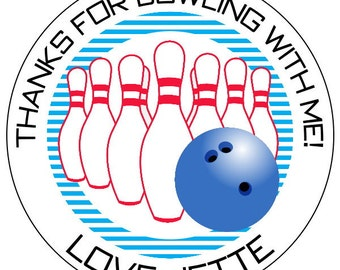 bowling birthday stickers, bowling ball stickers, custom bowling pin labels, retro bowling stickers, red and blue bowling labels