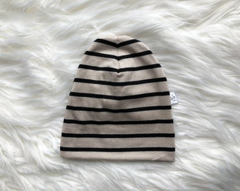 Black and Stone Stripe Baby Hat | Cuffed Hat | Slouchy Hat | Baby, Toddler Beanie | Slouchy Beanie | Hospital Hat | Baby Shower Gift