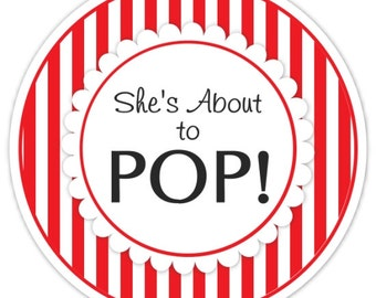 Baby Shower About to Pop labels, Red Stripes, About to Pop Stickers, Baby Shower Labels
