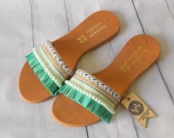 "Greek Leather Flip-Flop Sandals ""Tahiti"" Comfortable Slides for Women Boho Multicolor Flats Greek Sandals Summer Shoes Fringe Roman Sandals"