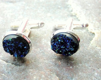 Men's cufflinks faux Druzy