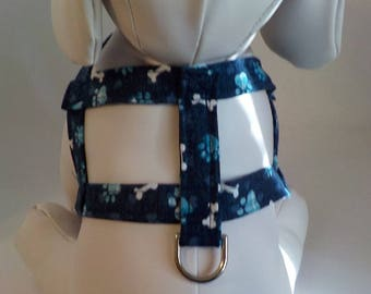 Dog Harness - Dog Clothes - Dog Harness - Dog Harnesses - Navy Bones - Custom Dog Harness  - Designer Dog Fashion - Small Dog Harness