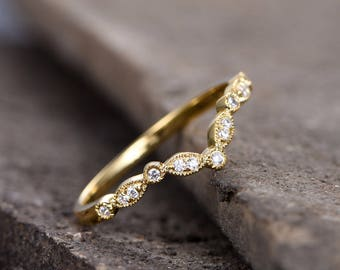 V Ring Curve Wedding Band Art Deco Ring Chevron Diamond Ring Sterling Silver CZ Wedding Ring Yellow Gold Plated Stackable Matching Band