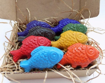 Kids Gift, Stocking Stuffer, CRAYONS, Eco Friendly, Fish SOY CRAYONS, Gift for Kids, Natural Toy, Handmade Crayons, Holiday Gift