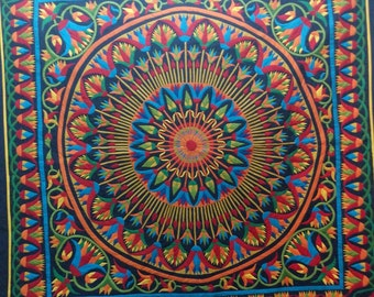 Fattoh , Special Christmas Multi Colors Lotus Design . This masterpiece of hand-stitched appliqué Tentmakers of Cairo Art.
