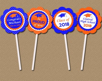 Personalized College Graduation Party Decorations 2018 Cupcake Toppers, High School Graduation Party Ideas, Downloadable Cupcake Toppers G6