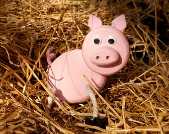 Pig Marionette - Wooden Farm Animal Toy Puppet