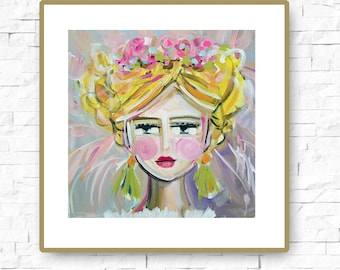 Warrior Girl PRINT portrait impressionist orig.  square abstract girl painting large Sandy