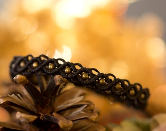 Macrame bracelet black and bronze