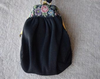 Vintage Pettipoint Purse, Wristlet Bag, Black With Floral Accent