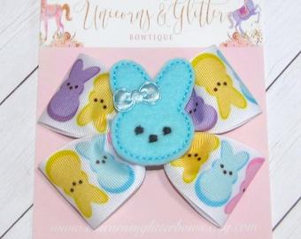 Marshmellow Bunny Hair Bow, Easter Bunny Hair Bow, Blue Bunny Hair Bow,  Bunny Hair Bow, Easter Outfit, Peep Hair Bow