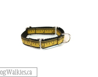 "The Golden Measure // 3/4"" Wide (19mm) // Choice fo style and size // Quick Release or Martingale Dog Collar // Black and Gold"