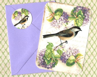 Note Cards, Bird Cards, Note Card Set, Violets, Bird Note Cards, Stickers, Gift Idea