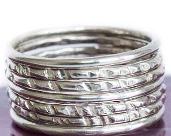 Stack Ring Sterling Silver - 7 Band Set