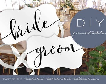 Bride and Groom Chair Signs - Modern Romantic Collection - Chair Signs - DIY Printable Black and White