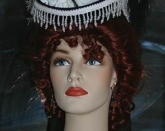 Victorian Hat, Riding Hat, Sidesaddle SASS Hat, Black White Hat, Tea Party Hat, Cocktail Hat, Kentucky Derby Hat - Spirit of San Fransisco