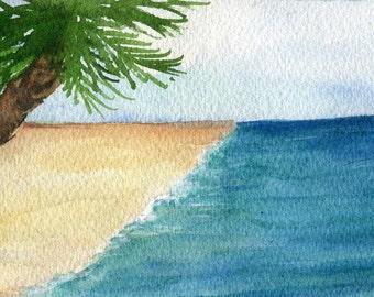Aruba watercolors  paintings  original, palm tree, lovely sea, sandy beach,  Ocean Art 4 x 6 inches, SharonFosterArt