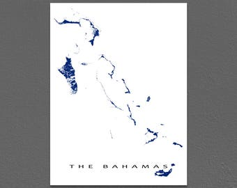 The Bahamas Map Print, Nassau, Andros Island, Grand Bahama, Caribbean Islands Map Poster