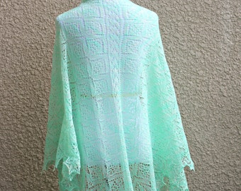 Knit shawl, knit wrap, lace shawl, lace wrap in mint green gift for her ready to ship