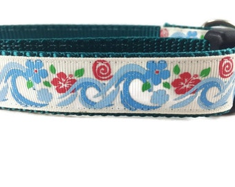 Dog Collar, Hawaiian Waves, 1 inch wide, adjustable, quick release, metal buckle, chain, martingale, hybrid, nylon